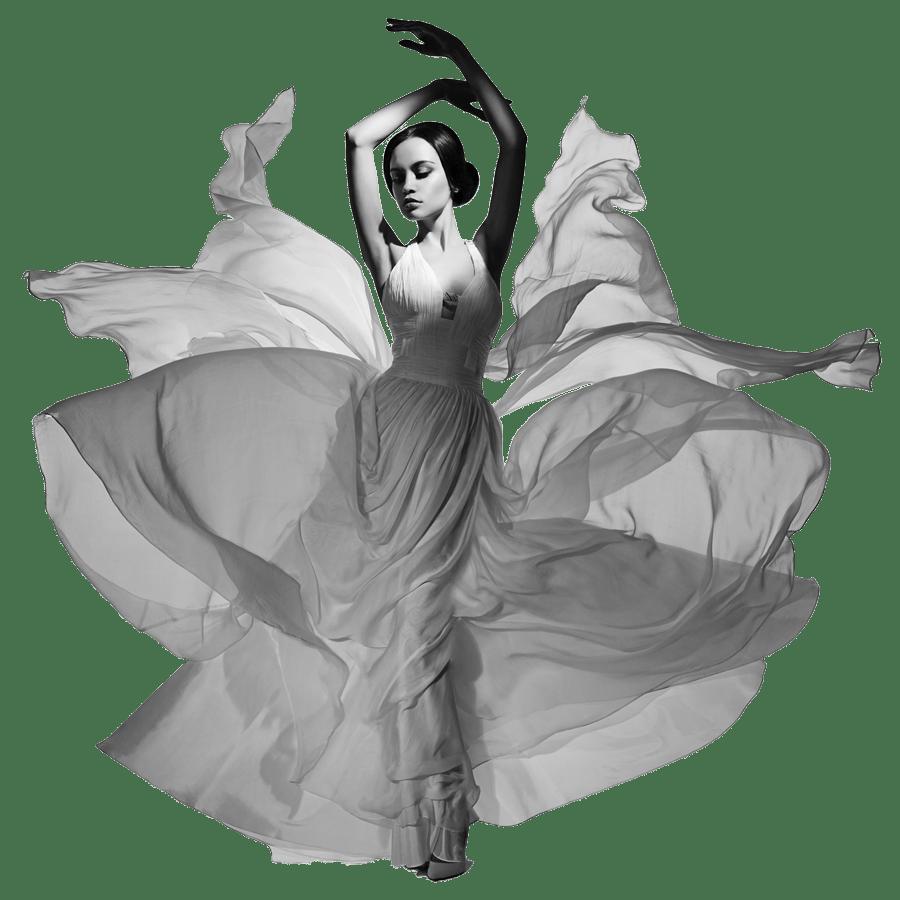 Tänzerin in wallendem Seidenkleid